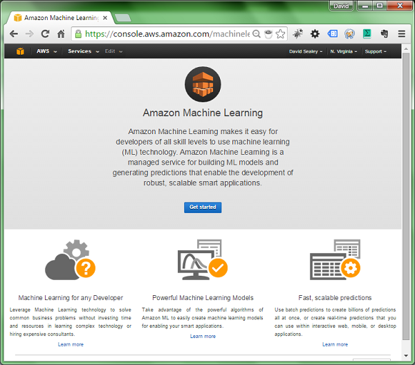 Screenshot of the Amazon Machine Learning dashboard