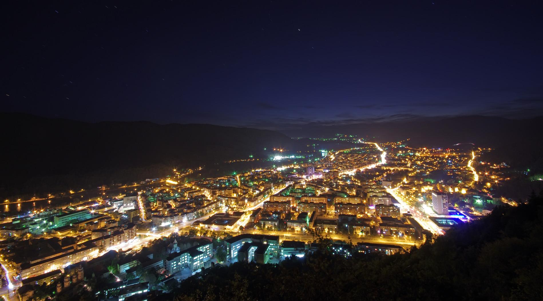 Night city scene, up view, Piatra Neamt in Romania
